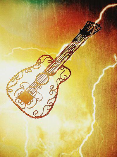 Guitar Ablaze Lightening Bright Light Music