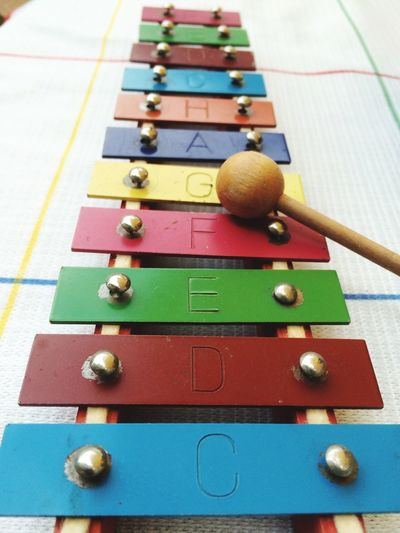 Glockenspiel Glockenspiel Playing Play Colorful Instrument Music Focus On Foreground