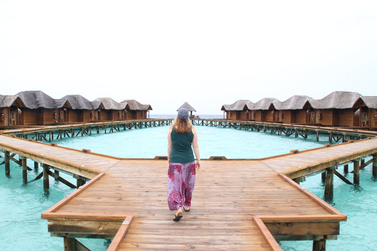 Rear View Only Women Pier One Person Full Length One Woman Only People Adult Getting Away From It All Wood - Material Adults Only Vacations Beach Outdoors Water Leisure Activity Lifestyles Day Sea Jetty Summer Holliday Malediven  Maledives Traumstrand Been There. Be. Ready.