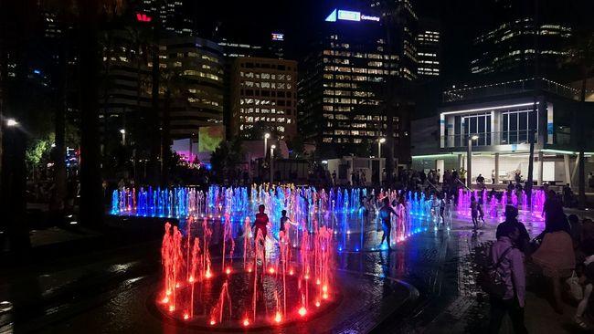 Elizabeth Quay Water Kids Playing Perth Night Lights