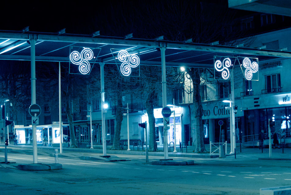 Abstract Architecture Bretagne City City Life Cold Temperature Frozen Illuminated Lorient Neon Night No People Outdoors Travel Destinations Winter