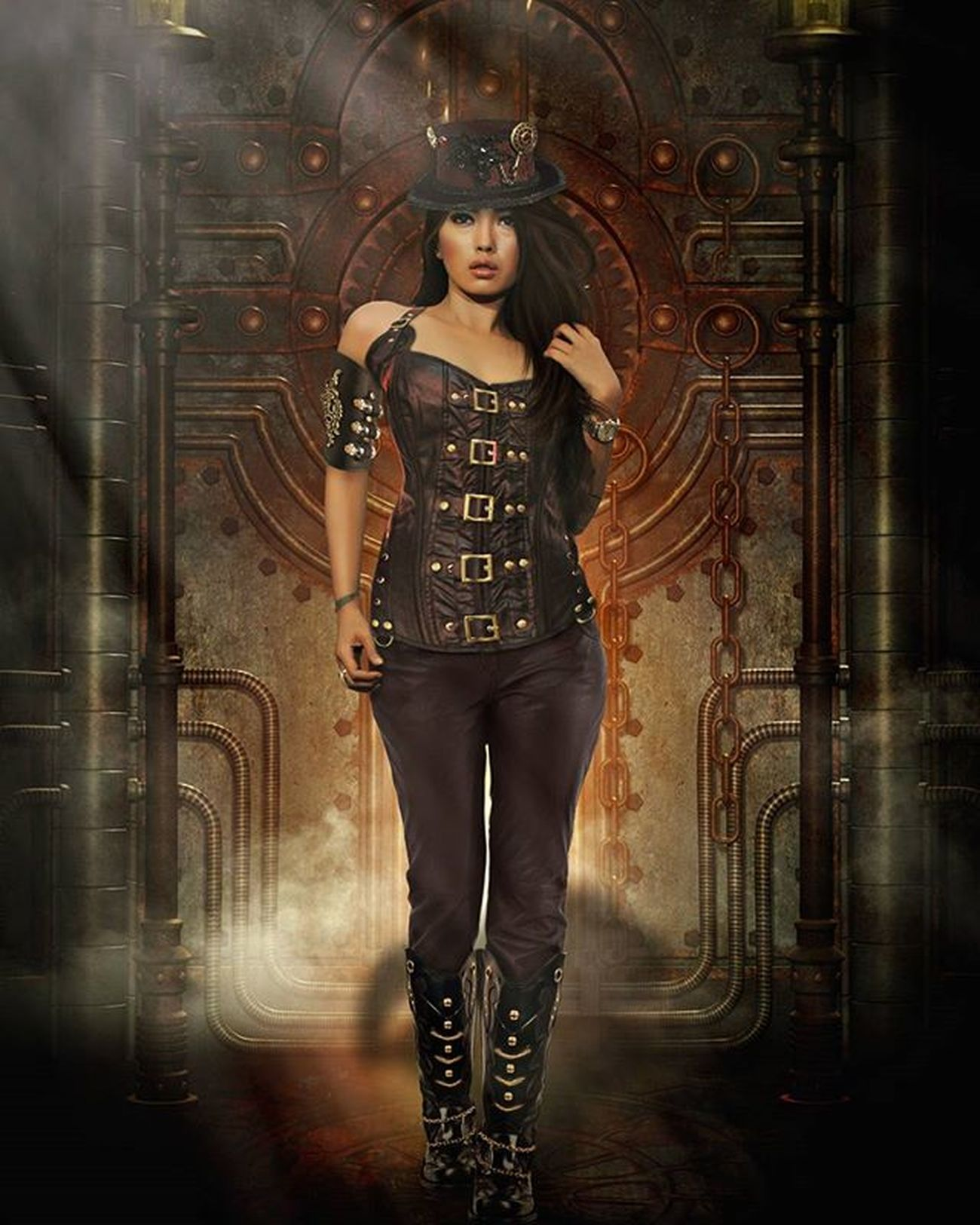SteamPunk Digitalimaging Digitalart  Steampunk Steampunkgirl Photoshop Darkscene Retouch Photoretouch Steampunkcostume Huscyendra