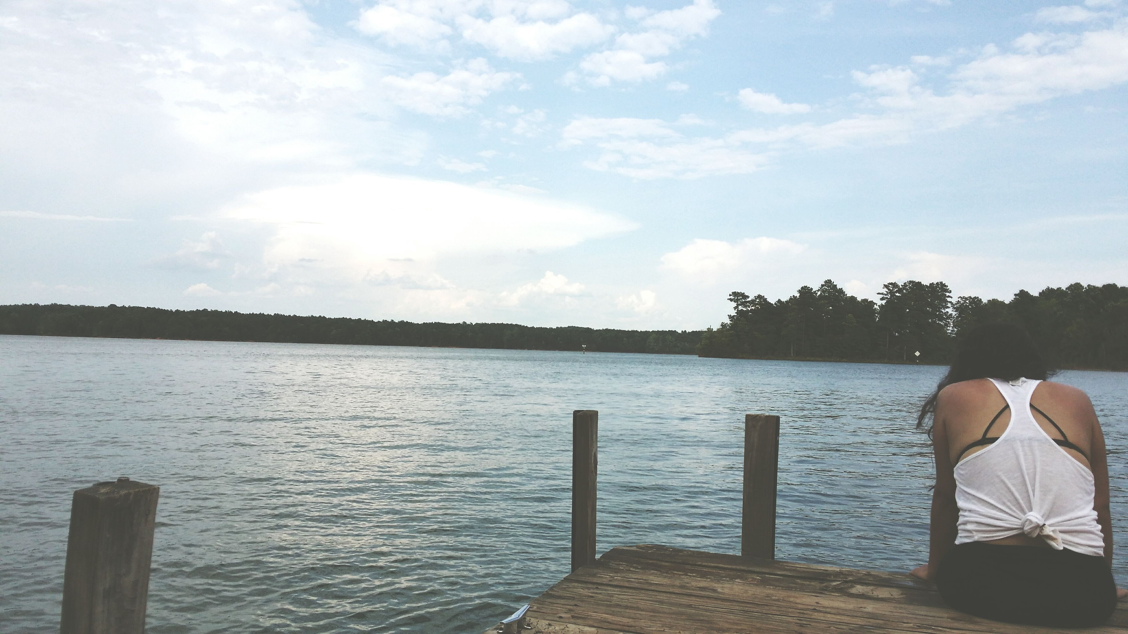water, sky, tranquil scene, tranquility, scenics, cloud - sky, beauty in nature, sea, nature, pier, cloud, lake, tree, wood - material, idyllic, day, rippled, leisure activity