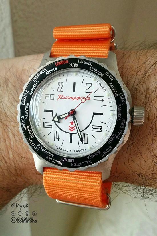 Taking Photos Streamzoofamily TheVille Watch 24 Hours 24 H Watch Vostok Komandirskie K35 Orange World Time Clock Made In Russia