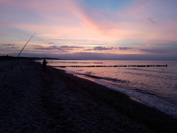 Sea Beach Sunset Idyllic Sand Dramatic Sky Beauty In Nature Sky Outdoors Brandungsangeln Ostseeküste Fishing