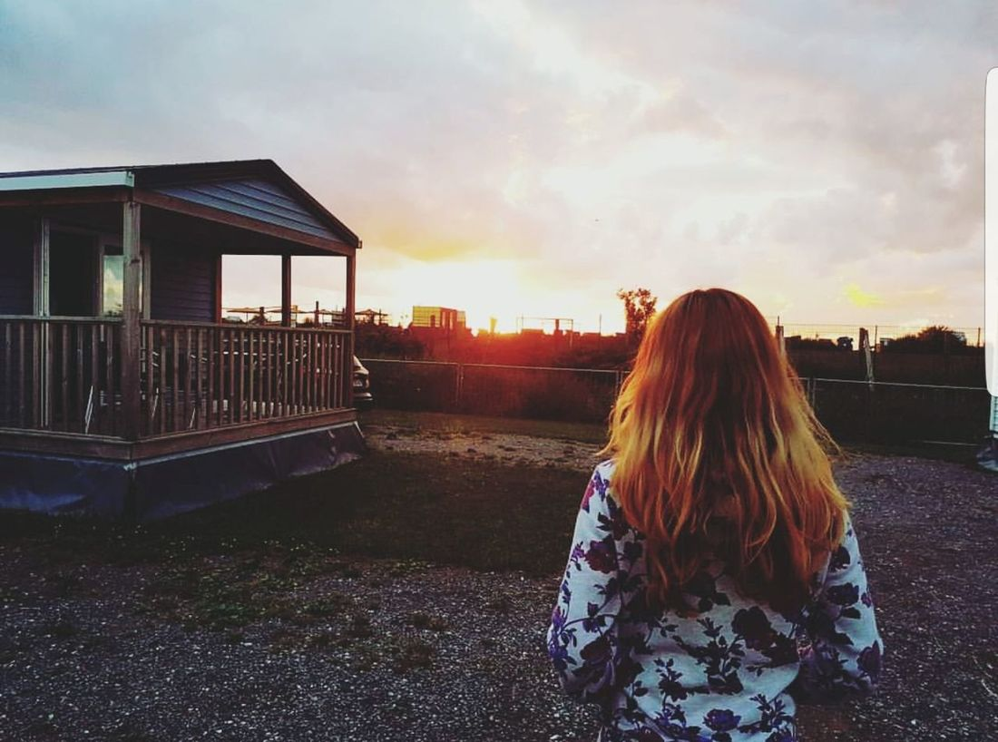 Sunset Long Hair Sky Cloud - Sky One Young Woman Only