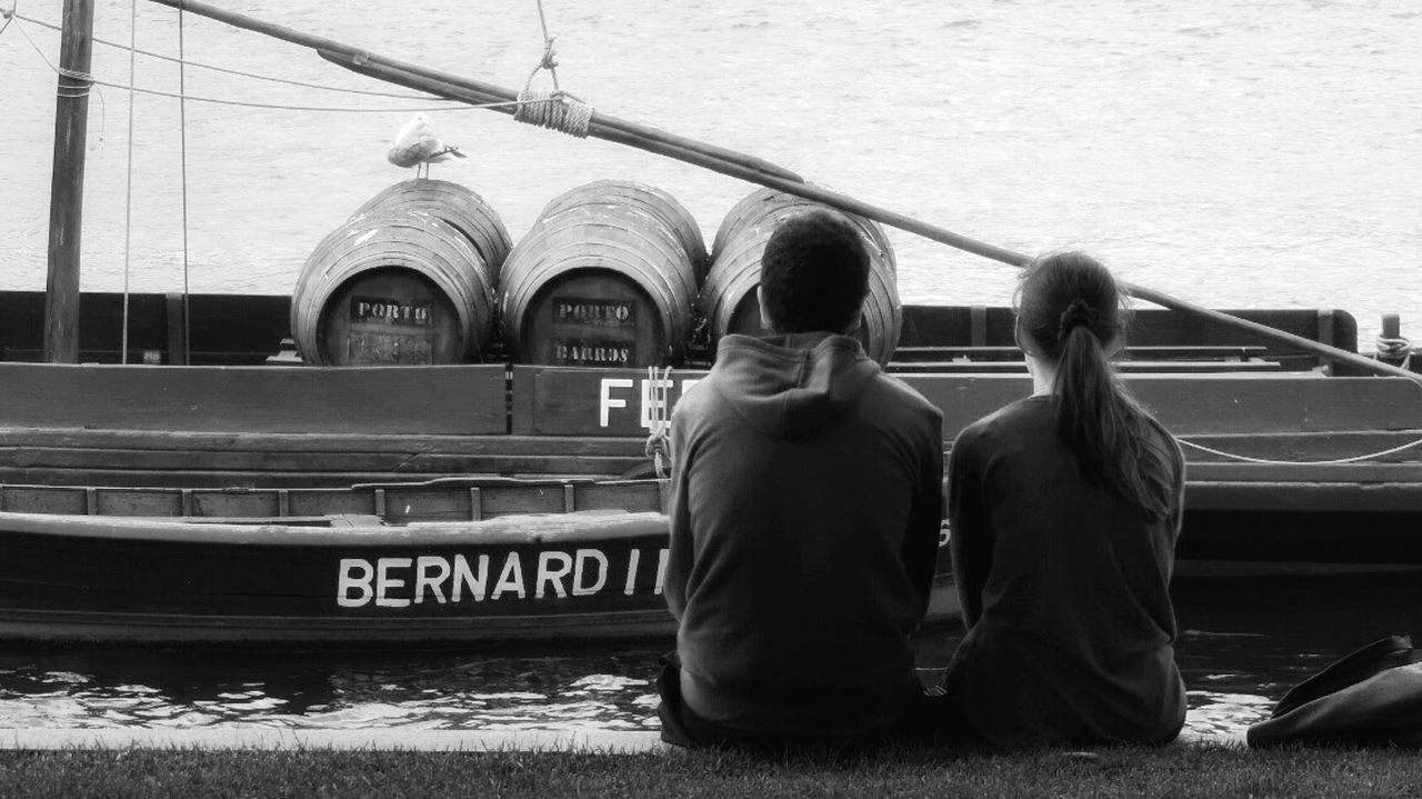 Enjoying Life Relaxing Blackandwhite People Photography Peoplephotography Street Photography Harbour Couple Porto Portwine People Watching Two Is Better Than One