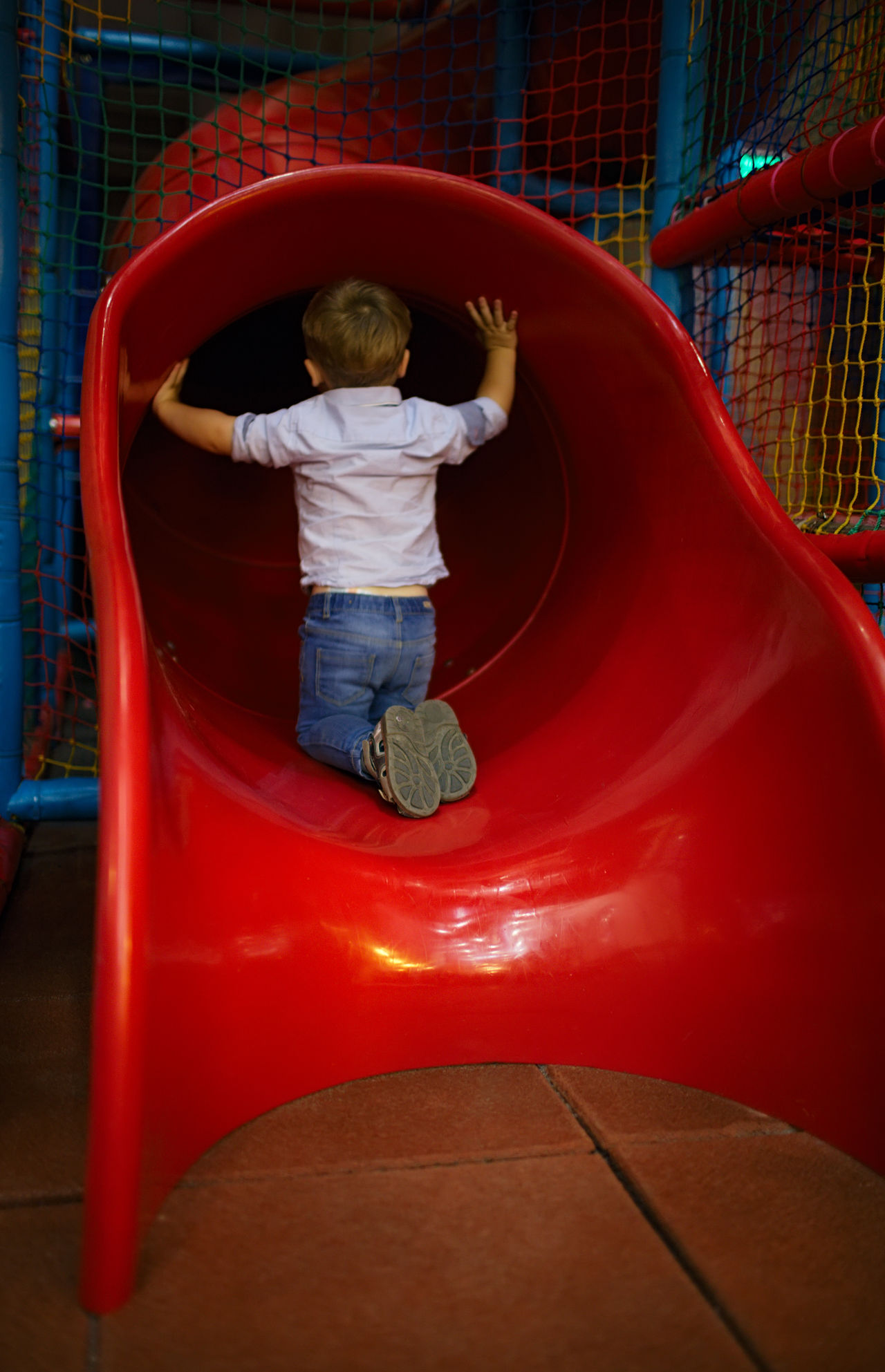 Back Caucasian Child Childhood Danger Game Hole Kid One, 2-3 Playground Playing Red RISK Safety Slide Sliding