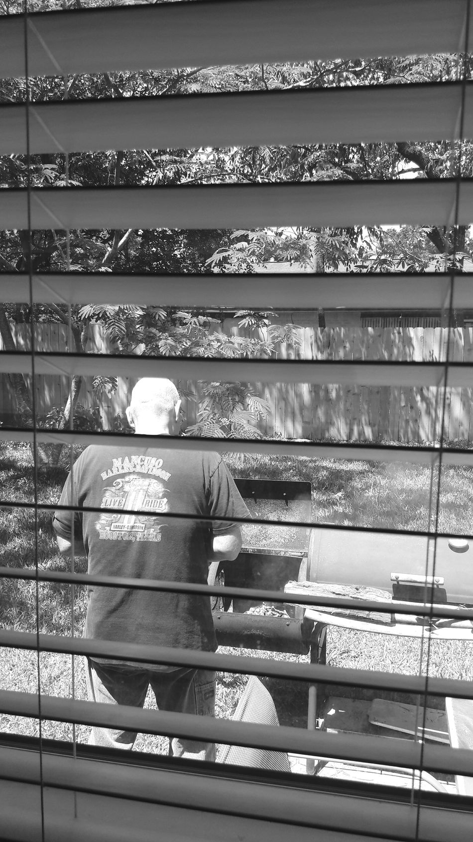 Rear View Men Leisure Activity Lifestyles One Person Real People Day Only Men People Popular Photos Photography Black And White Husband Through My Window Wood Blinds Outdoors My Hubby Cooks