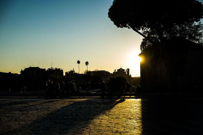 Panorama Roma Rome Clear Sky Fori Imperiali Silhouette Sunlight Sunset