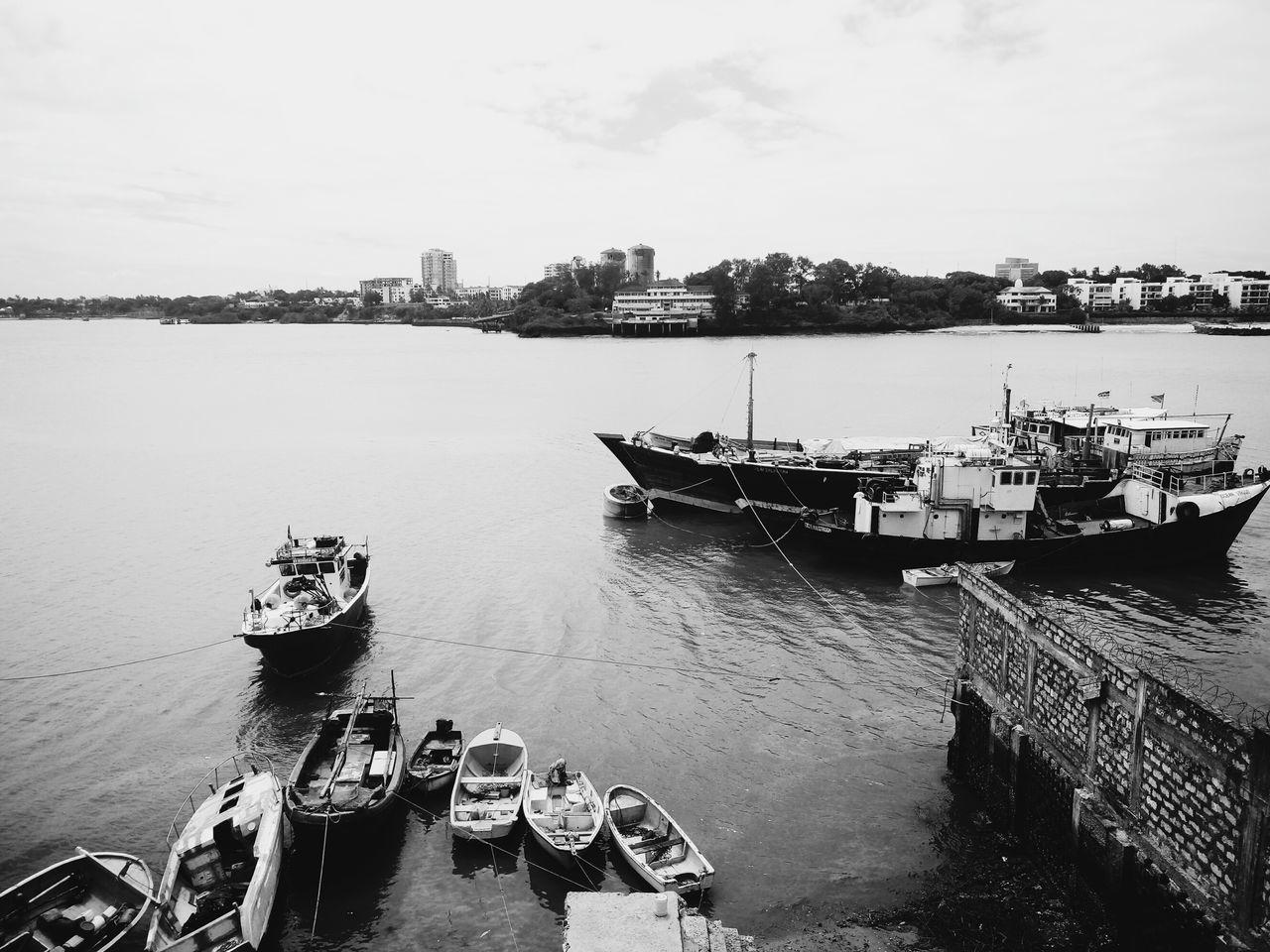 Old Port Mombasa. Nautical Vessel Water Sea Reflection Harbor Sky Moored Tranquility Outdoors Transportation Day KenyanMade Kenya Mombasa Blackandwhite Scenics Horizon Over Water Boats Anchored The Great Outdoors - 2017 EyeEm Awards EyeEmNewHere