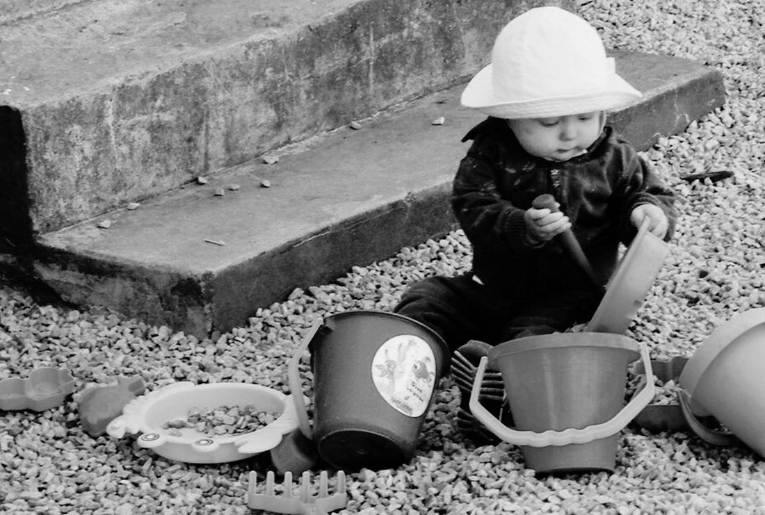 One of my (many) nephews playing in the gravel at our house. People Portrait Black And White Blackandwhite Taking Photos Streetphoto_bw Streetphotography