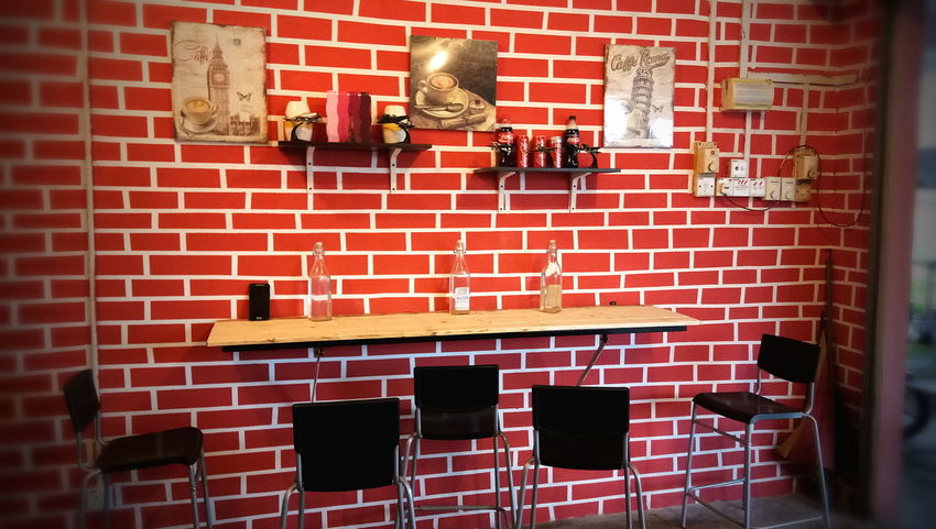 Indoors  No People Westernstyle Wood - Material Waterbottle Table And Chairs Cafe Shop Orange Colour