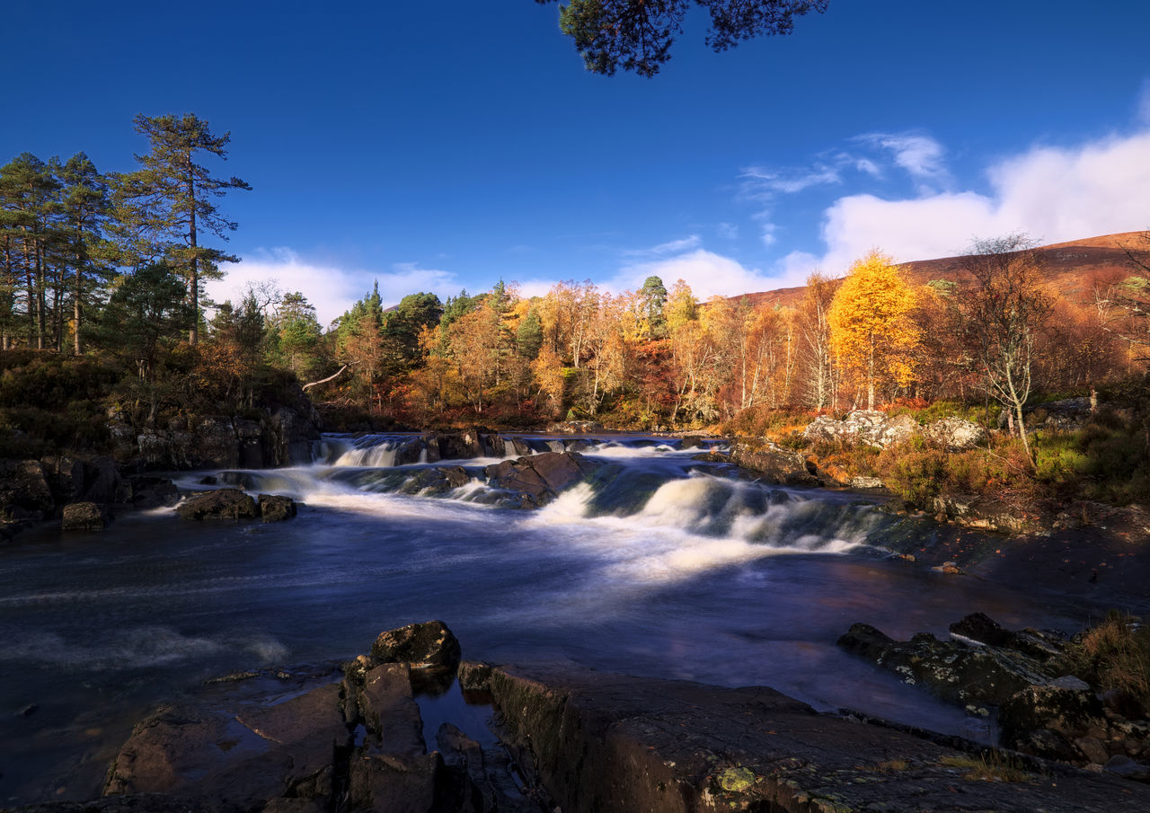 Blue and orange - autumn by the river, Glen Affric Awe Beauty Beauty In Nature Day Forest Highlands Landscape Landscape_Collection Landscape_photography Nature Nature No People Outdoors Pine Woodland Scenics Scotland Scotland 💕 Sky Tree Water Waterfall