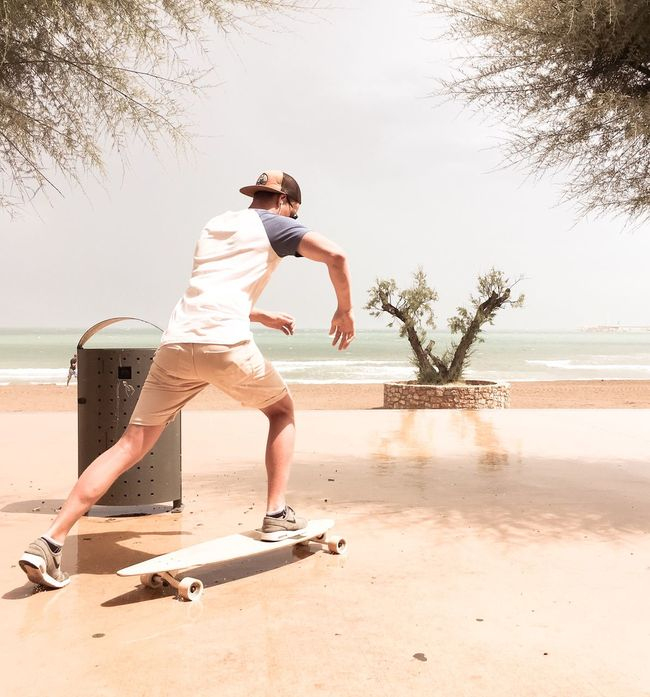 Skateboard Skateboarding Seaside Beach On The Way Pink