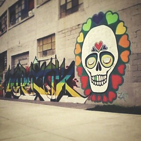 Enjoying Streetart/graffiti Sunny☀day Bright Colors Hearts Skeleton Hanging Out With Friends Taking Pictures Spraypaint Graffiti GoodFellas IMP At Pitti Uomo 86