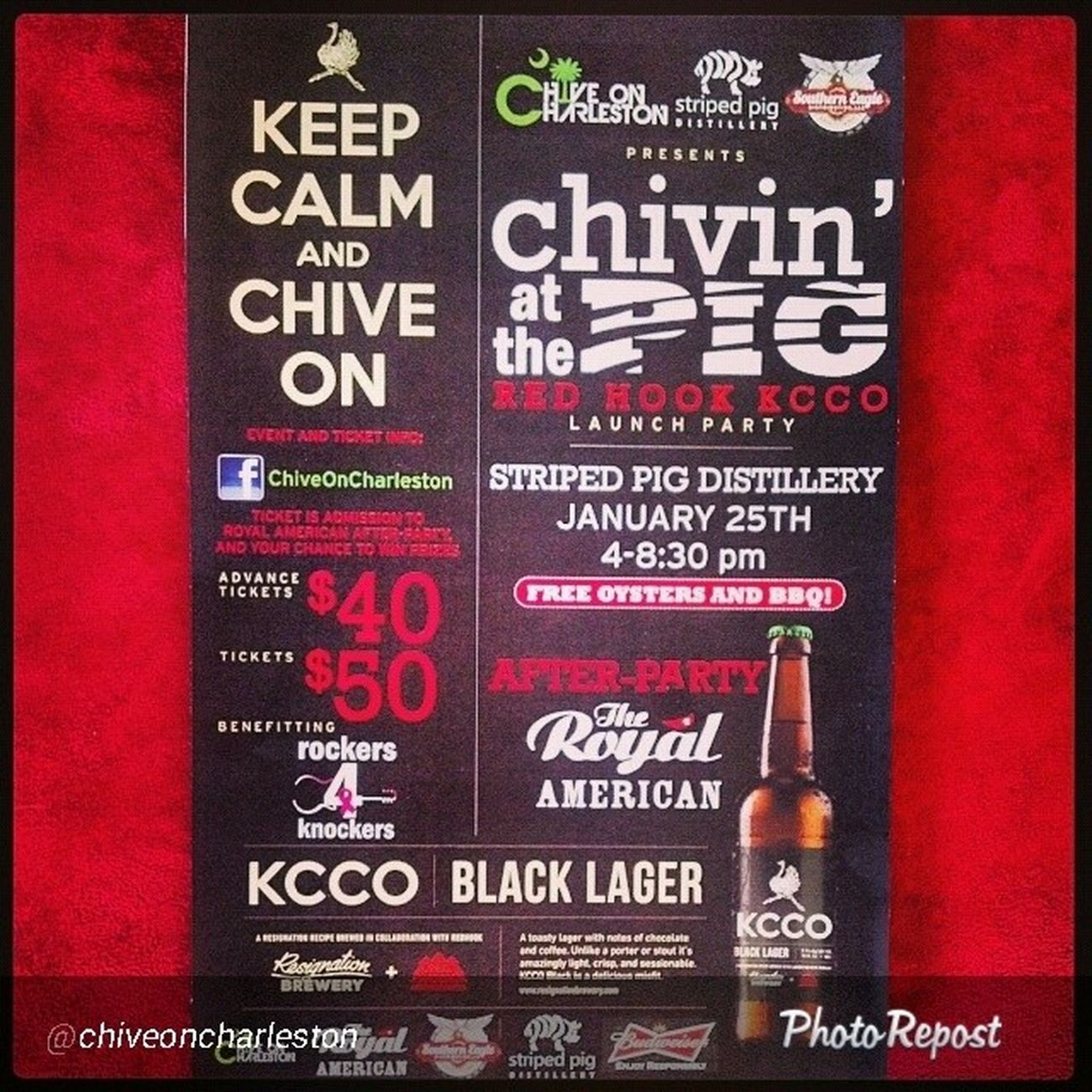 "By @chiveoncharleston ""It's going down January 25 all for Charity ! Chivinatthepig Kcco Thechive Chivecharities Chiveon Chivenation Charleston Southcarolina SC Beer Oysters Live Music with Four Bands Giveaways Redhook """