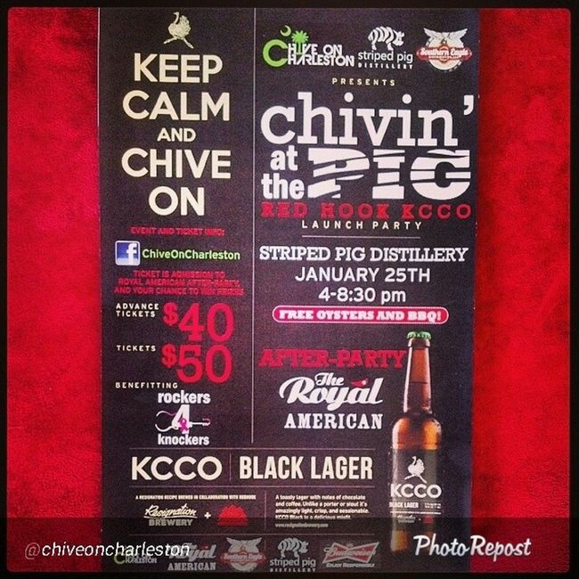 """By @chiveoncharleston """"It's going down January 25 all for Charity ! Chivinatthepig Kcco Thechive Chivecharities Chiveon Chivenation Charleston Southcarolina SC Beer Oysters Live Music with Four Bands Giveaways Redhook """""""