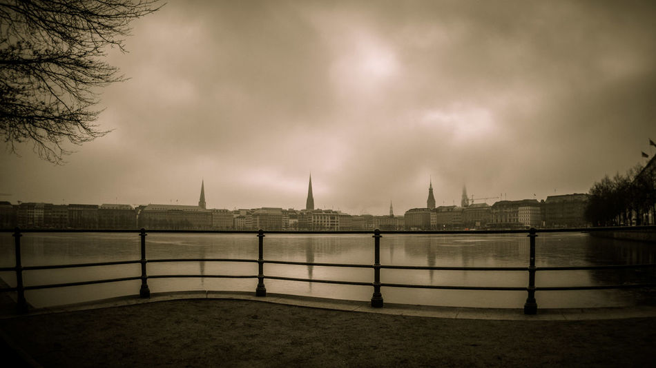 Four Churches and a Town Hall Tower Hamburg Alster Binnenalster Churches Town Hall Water Water Reflections Water_collection Waterfront City Cityscapes Silhuette 16to9 Clouds Cloudy Sky