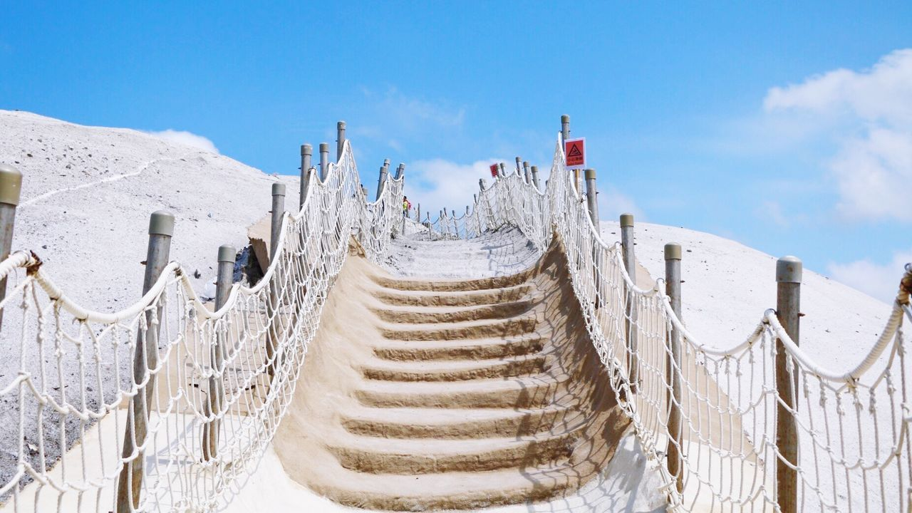 sky, white color, railing, snow, nature, day, outdoors, winter, cold temperature, beauty in nature, no people, scenics, mountain