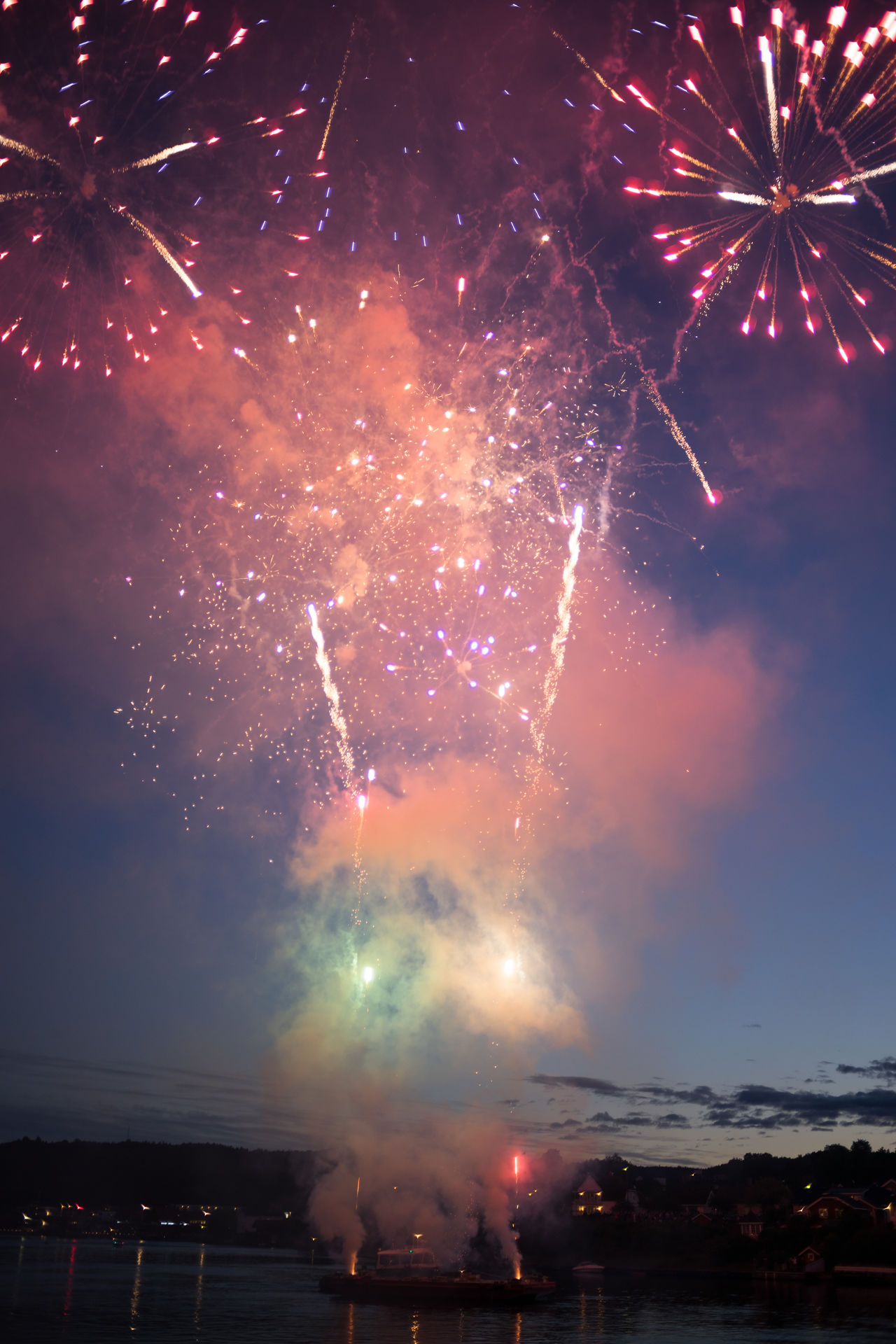 Fireworks Arts Culture And Entertainment Celebration Event Exploding Firework Firework - Man Made Object Firework Display Illuminated Low Angle View Multi Colored Night No People Norway Norway🇳🇴 Porsgrunn Porsgrunnselva Sky Smoke - Physical Structure