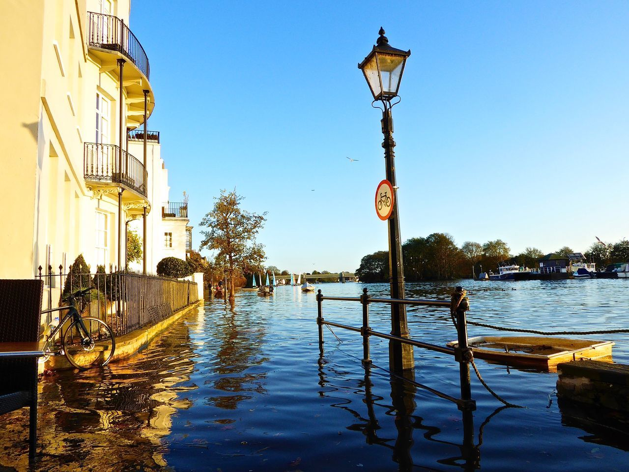 River Thames Thamesriver ChiswickRiverside Flooding Flooded Flooded Road Flooded Streets Blue Reflections In The Water