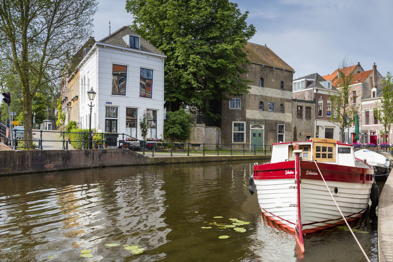 The river Schie flows through Schiedam, nearby Rotterdam, The Netherlands. Cityscape Day Medieval No People Outdoors River The Schie Water