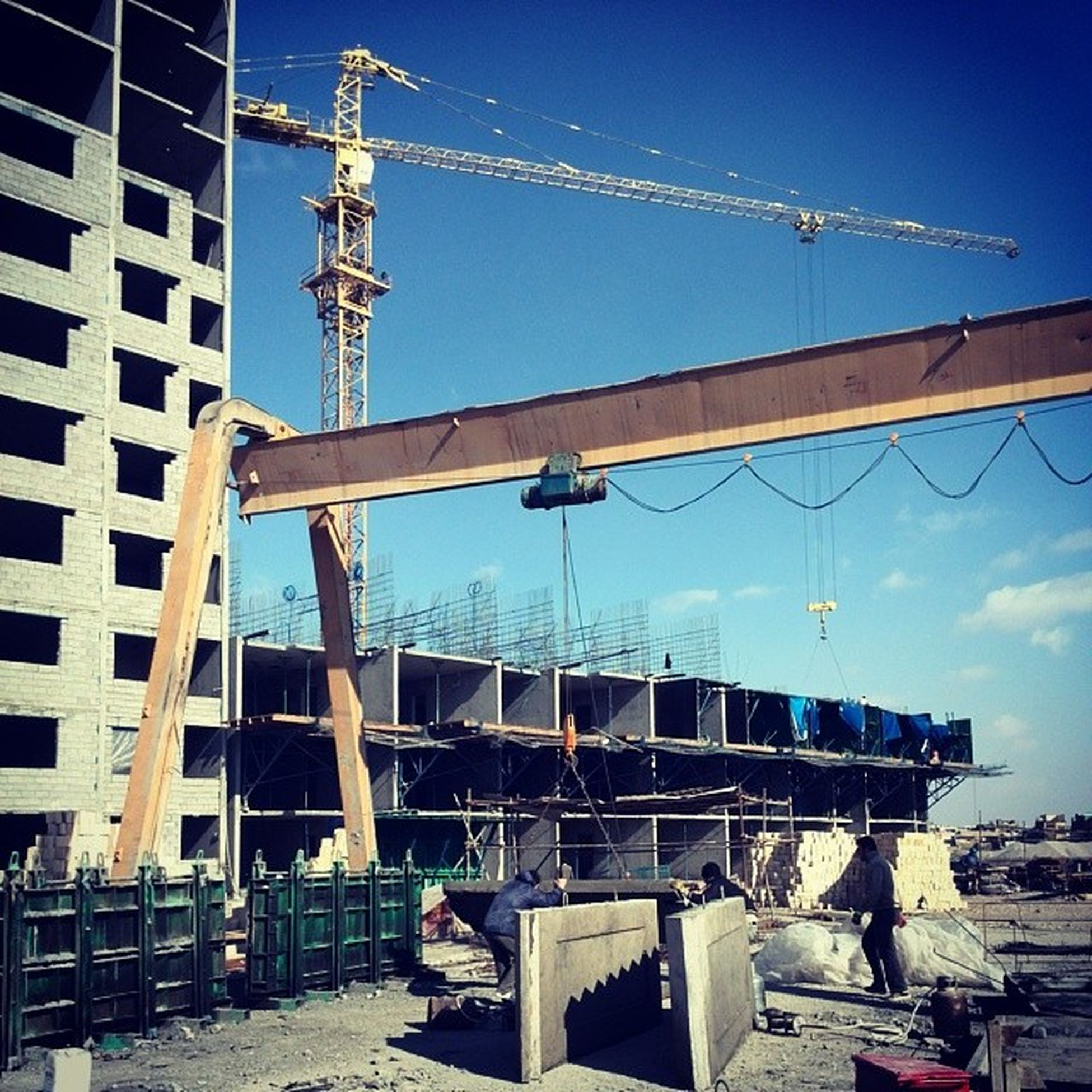 Tower Crane Structrue Step Wall Yellow Blue Sky Friday At Work Concrte Winter Now