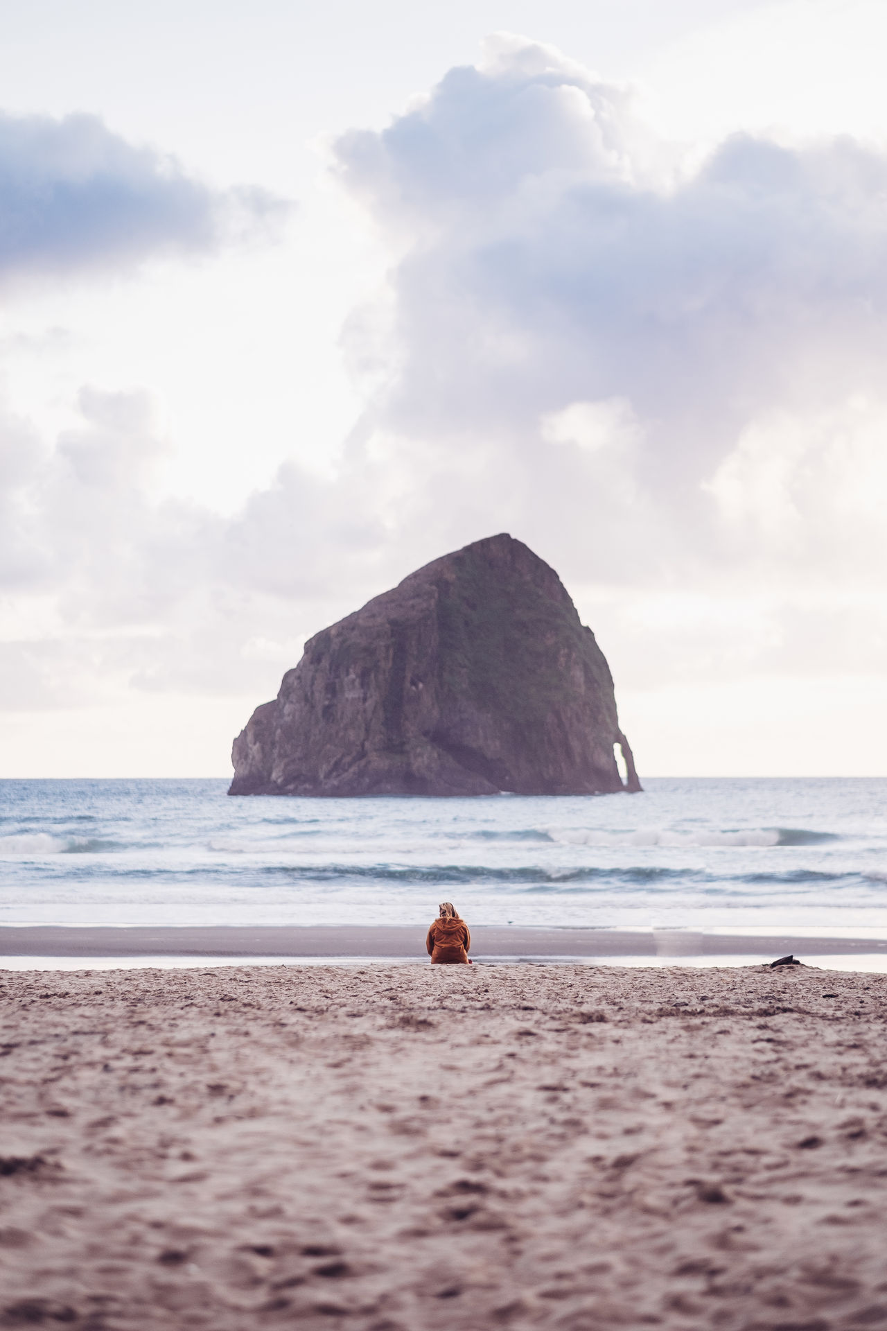 Lone Beach Sea Horizon Over Water Travel Destinations Vacations Sky Cape Kiwanda Oregon Coast One Woman Only The Great Outdoors - 2017 EyeEm Awards PNW Tranquility Outdoors Adventure Leisure Activity One Person Beauty In Nature Tranquil Scene Sunset Travel