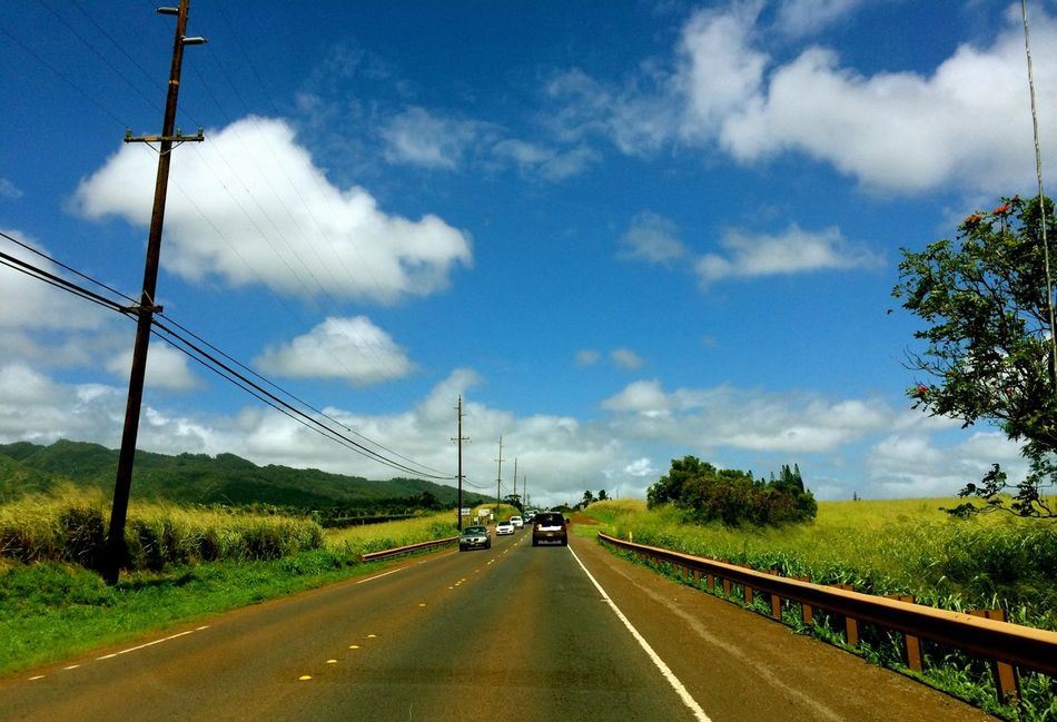 Hawaii Oahu Go To Northshore Drive Sunny Day Blue Sky