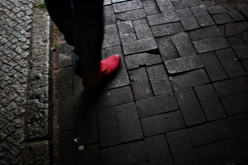 Walking in my shoes... Red Low Section Outdoors Day High Angle View One Person Human Leg Real People Leaf Autumn Close-up People