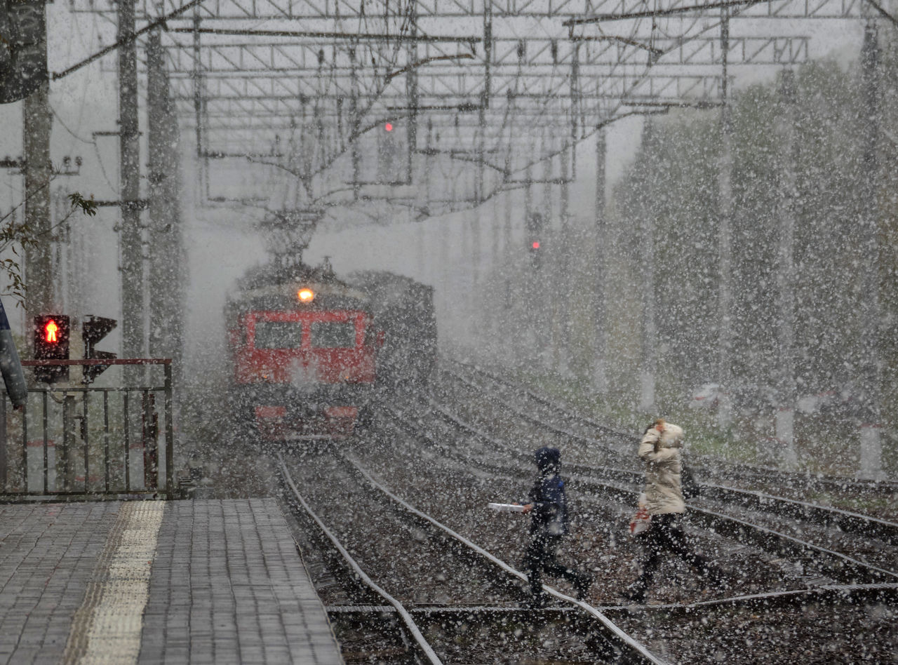 Russia, Moscow, transport, train, snow, winter Adult Adults Only Architecture City Cold Temperature Day Fog Illuminated Moscow Nature Outdoors People Railroad Track Russia Snow Snow ❄ Snowing Spraying Train Transport Tree Walking Weather Winter Winter