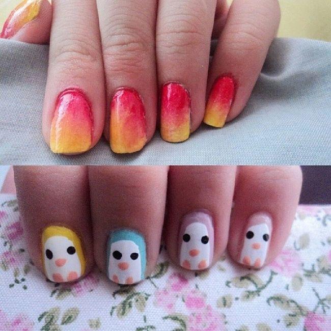 NAILSWAG × Fire vs cute penguin ❥ ❥ ❥ Nailart  Cutepolish Juliastyle