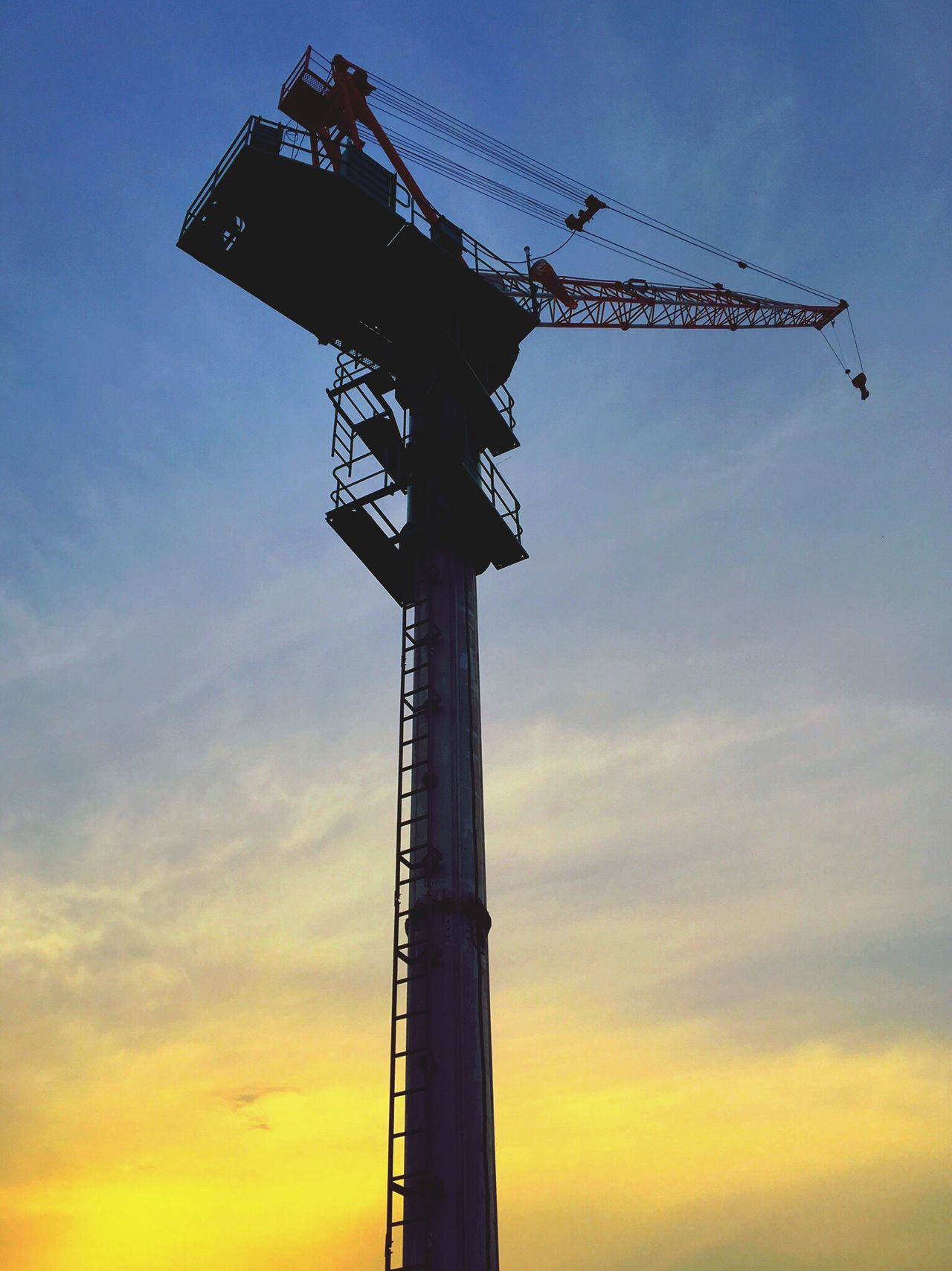 実家近く。 Sky Low Angle View No People Sunset Technology Industry Day Crane Crane - Construction Machinery Construction Tokyo Tokyo Days Clouds And Sky Cloud - Sky Evening Sky Tadaa Community Hello World