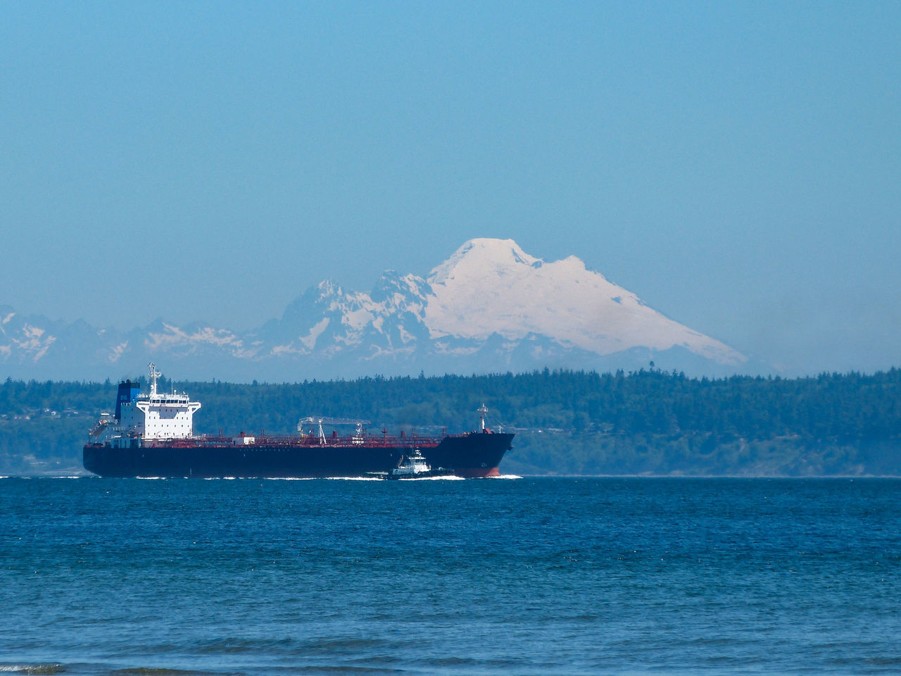 Beauty In Nature Blue Boat Cascade Mountains Day Freighter Mode Of Transport Mountain Mountain Range Mt. Baker Nautical Vessel Outdoors Puget Sound Scenics Sea Ship Sky Tugboat Water