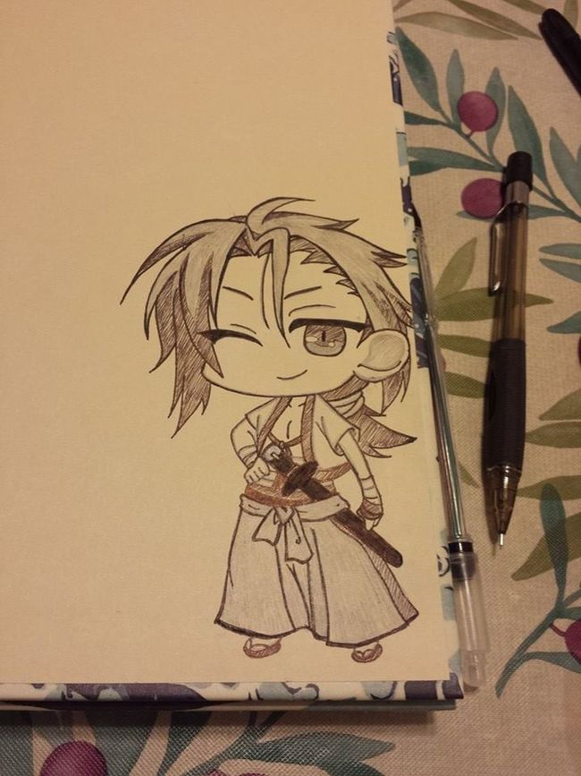 My Sanosuke Harada chibi on the corner of my sketchbook cover.. ? Chibi Hakuouki Anime Art Drawing Pencil Sketch Sketchbook Bishie Sanosukeharada