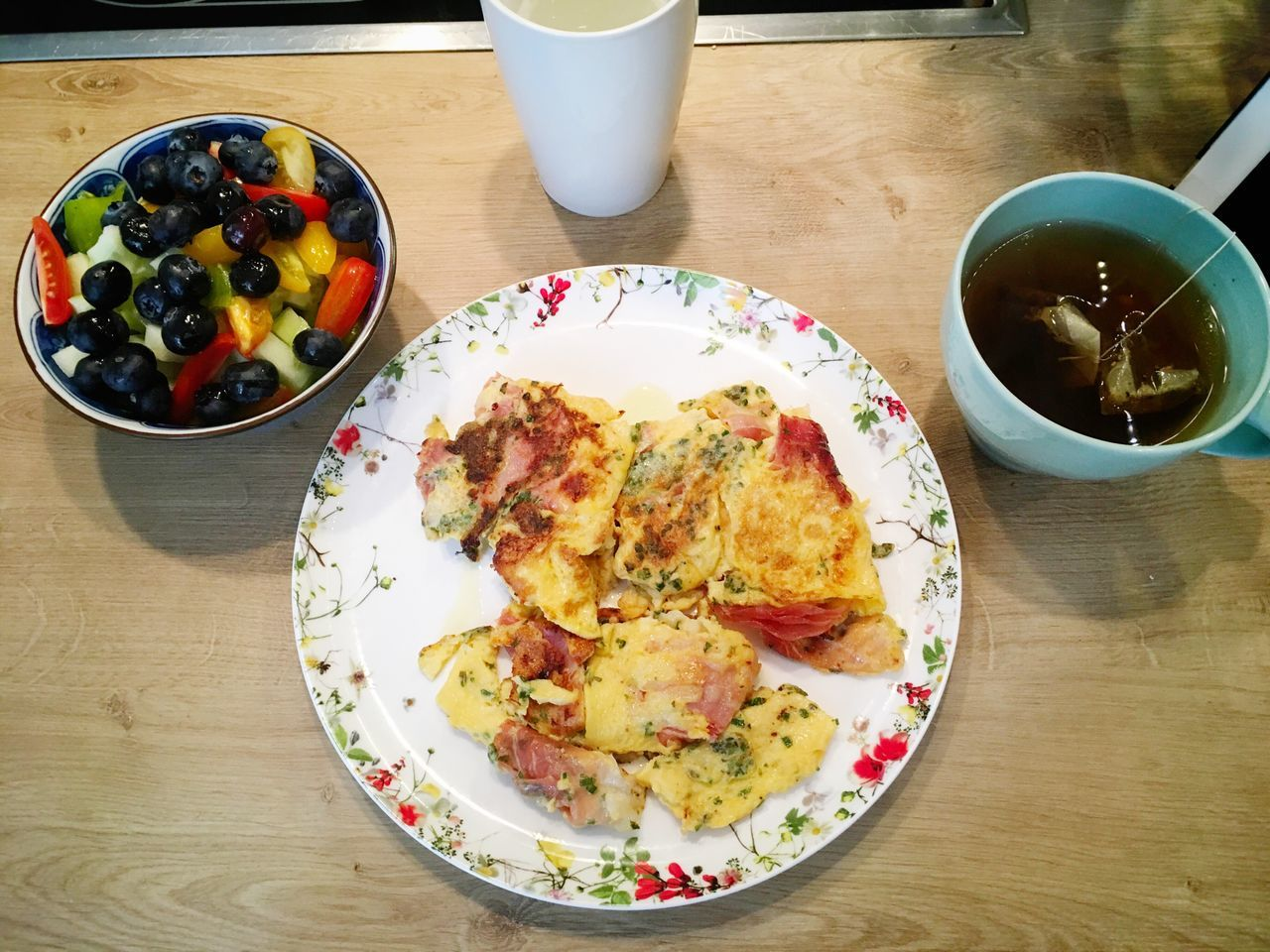 omelette with blueberries and salad Food Food And Drink Ready-to-eat Healthy Eating High Angle View Breakfast Plate Meal No People Healthy Lifestyle Scrambled Eggs Eggs... Eggs For Breakfast Blueberry Healthy Food