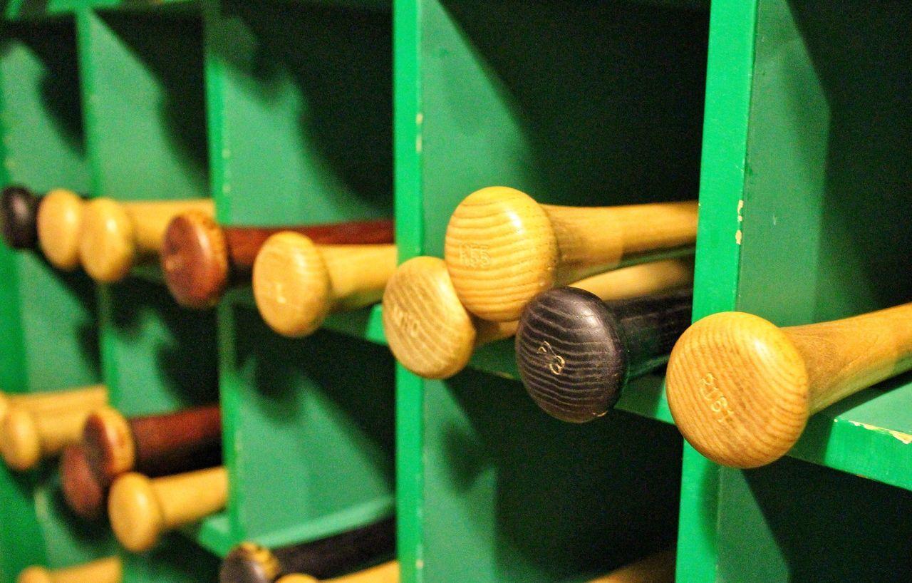 Beautiful stock photos of game, Baseball - Sport, Baseball Bat, Focus On Foreground, Indoors