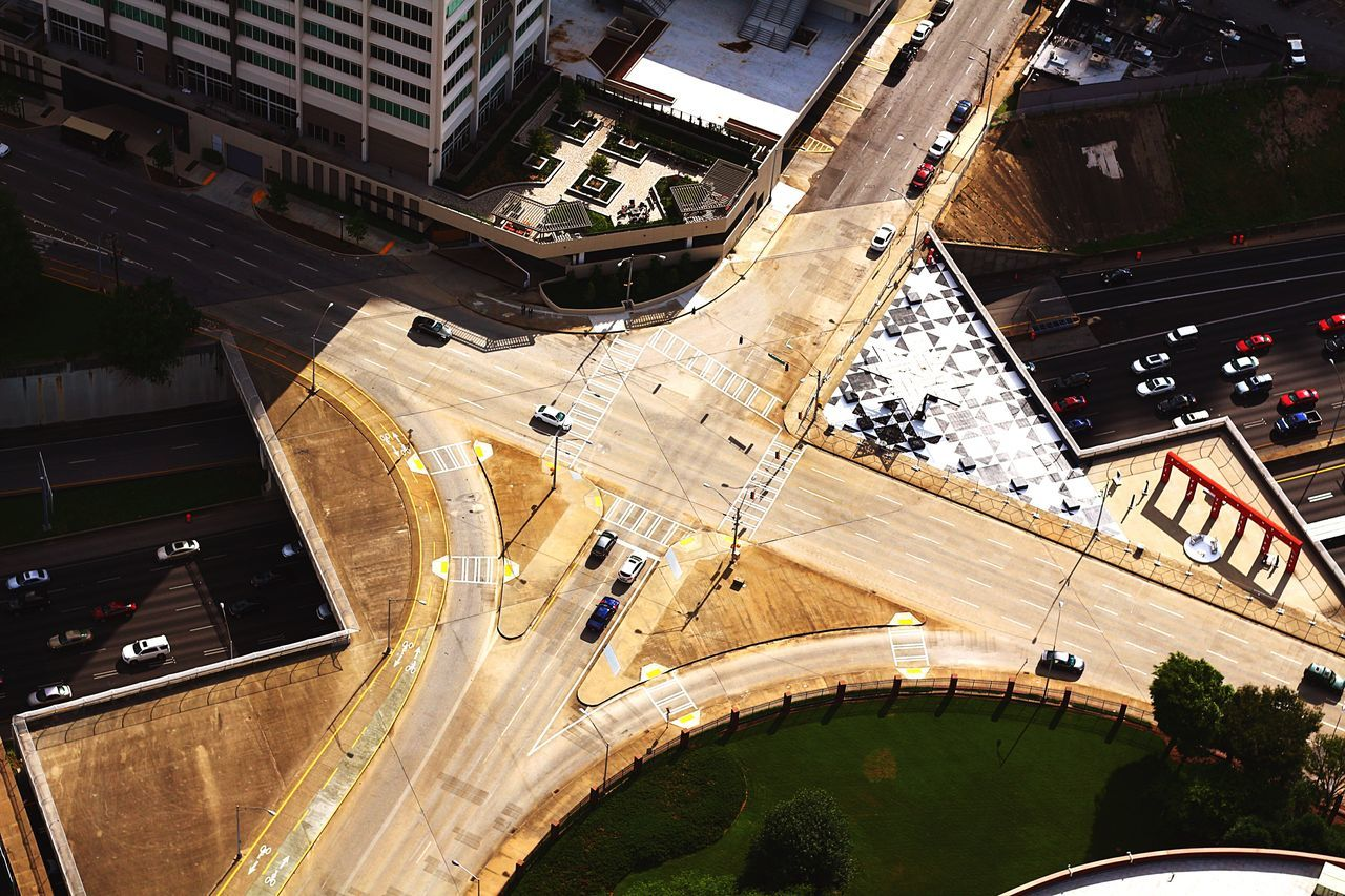 Urban intersection Architecture Aerial View High Angle View Built Structure Road City Transportation Building Exterior Day Travel Destinations Outdoors Aviationphotography Tall - High Atlanta, Georgia Aviation Photography Aerialview ATL Tourism Modern Downtown District City City Life Development Busy Street Traffic