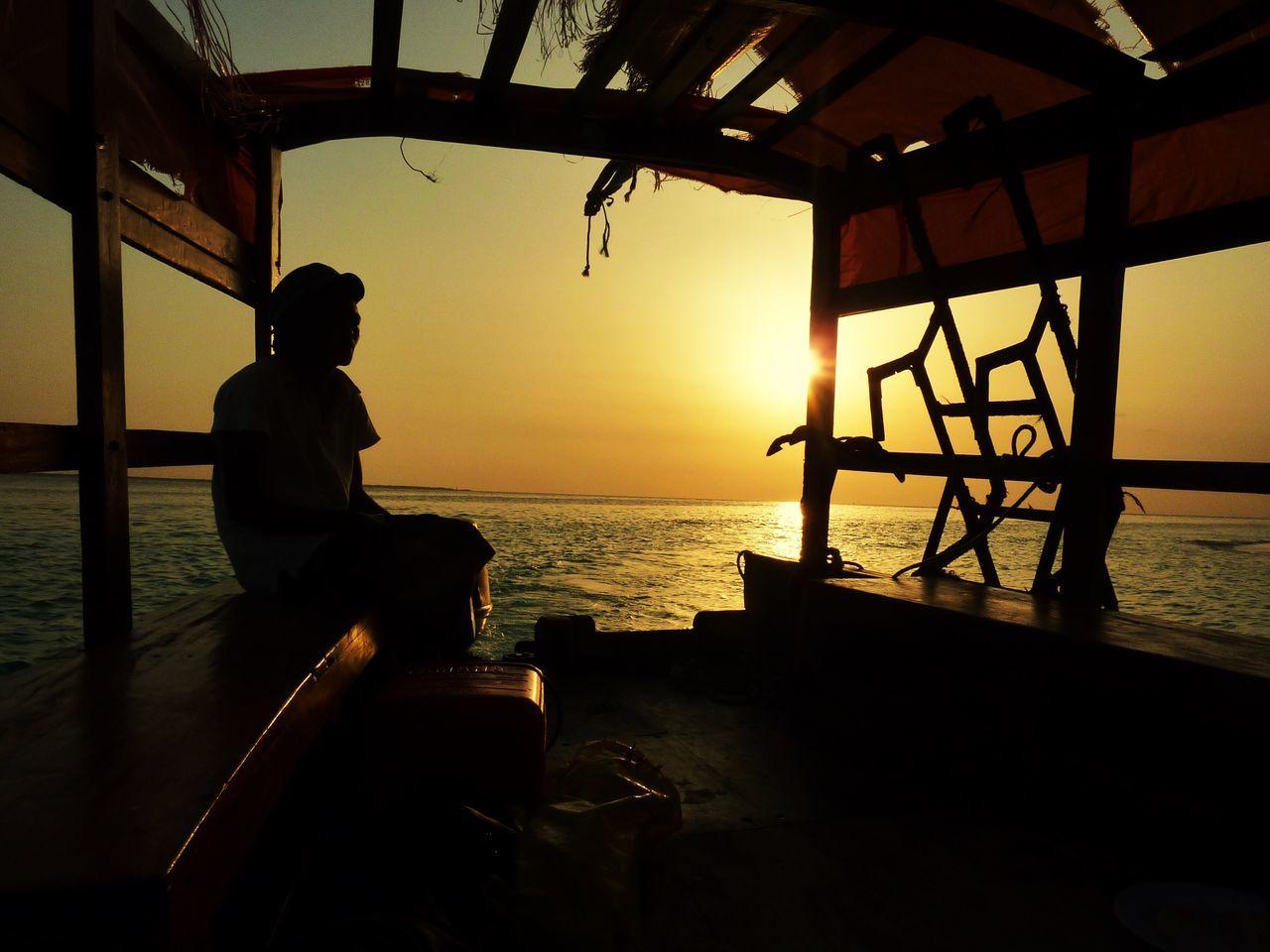 Man in boat at calm sea