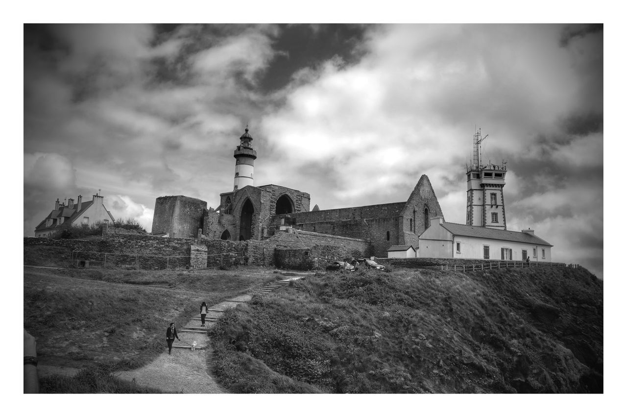 architecture, built structure, building exterior, sky, transfer print, cloud - sky, auto post production filter, cloudy, church, cloud, landscape, religion, hill, tower, tree, spirituality, place of worship, history, day