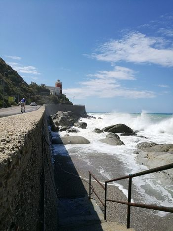 Capo D'Orlando Riding Bike Sea Beach Water Sky Outdoors Day Sand Vacations Travel Destinations People Horizon Over Water Nature Wave One Person One Man Only Adult Adults Only Beauty In Nature Only Men