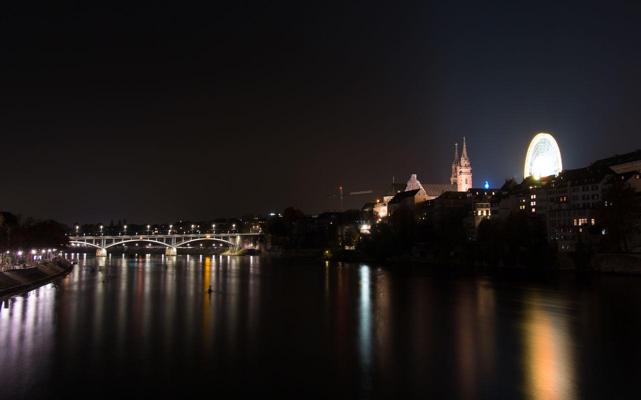 Basel Langzeitbelichtung Münster, Nacht Old Vs New Rhein Riesenrad Wettsteinbrücke
