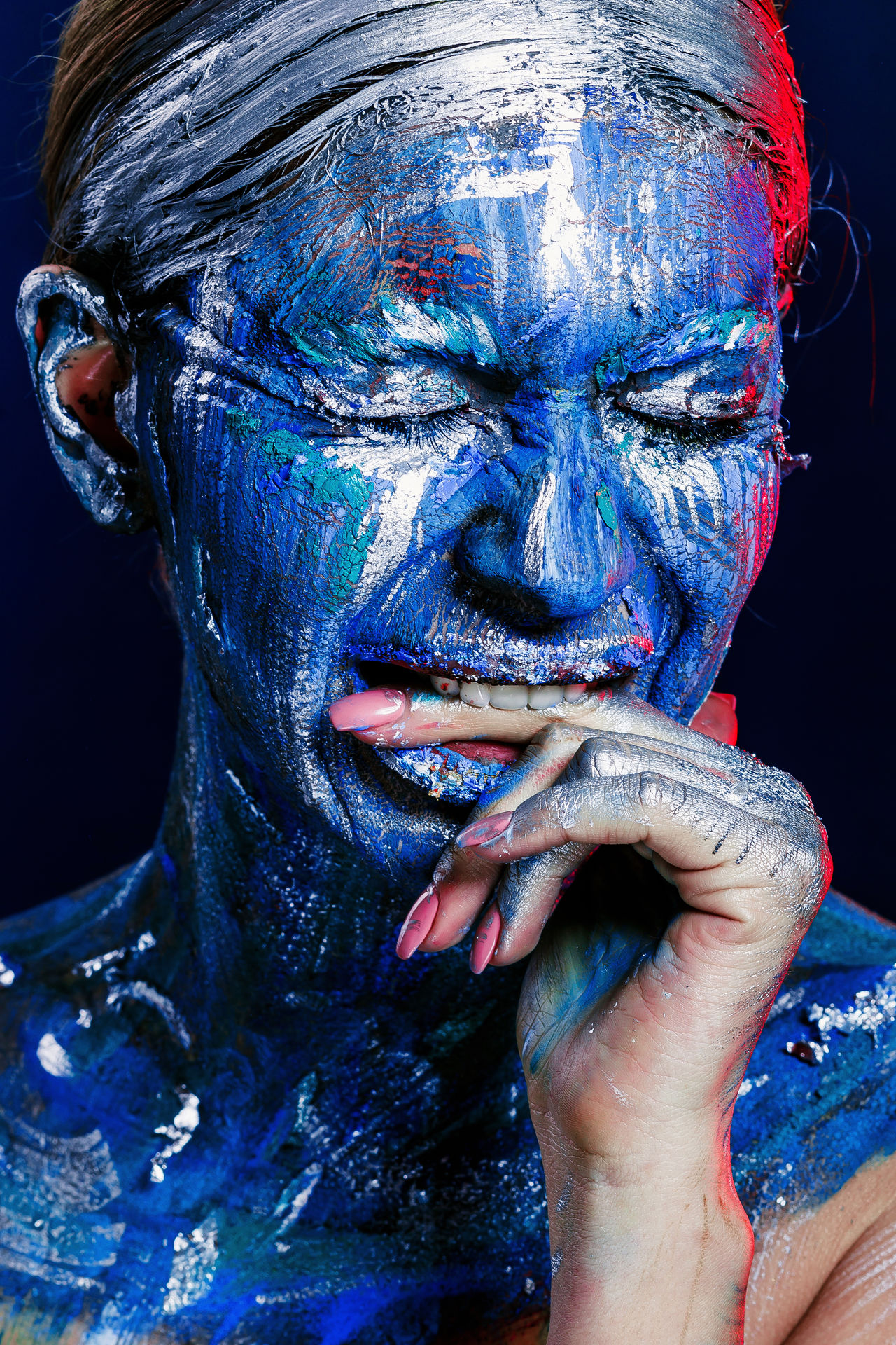 Beauty Beauty Product Bizarre Blue Close-up Emotional Photography Emotions Emotions Captured Face Paint Fantasy Fashion Fashion Model Future Vision Futuristic Human Body Part Human Eye Human Face Human Hand Make-up Multi Colored Studio Shot Technology