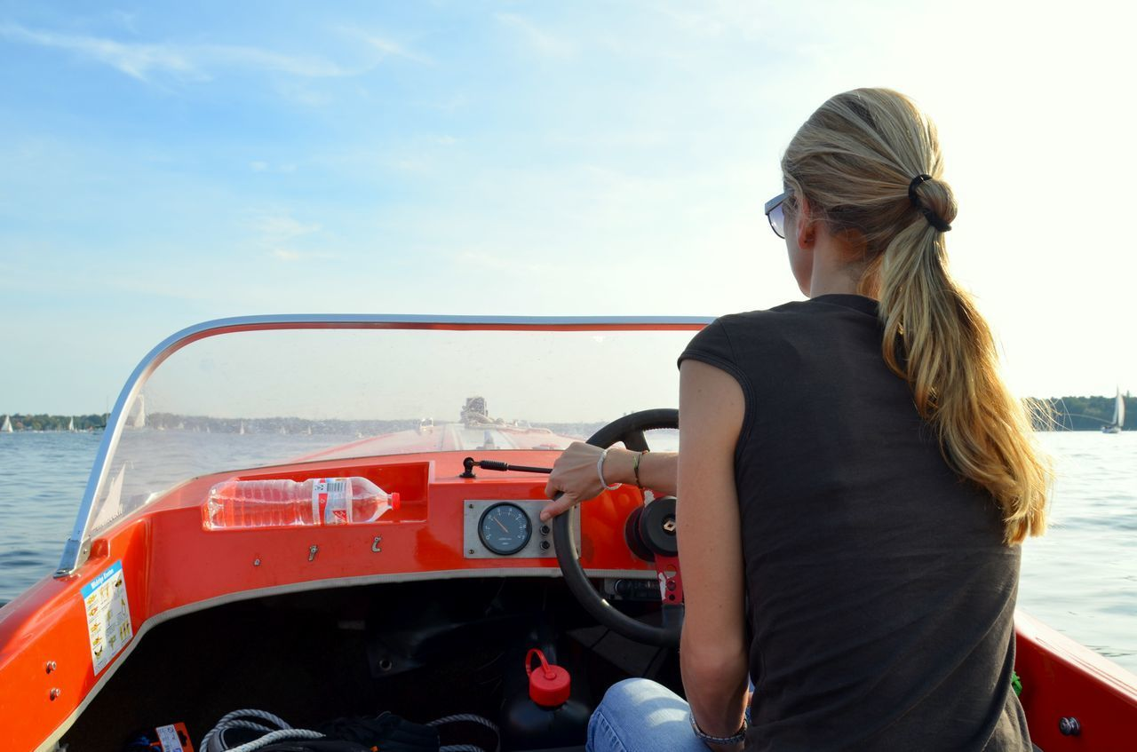Beautiful stock photos of sailing, Berlin Wilmersdorf, Blond Hair, Boat, Casual Clothing