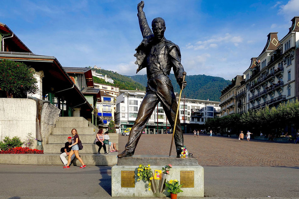 The statue of Freddie mercury in Vevey, Switzerland. Architecture Art And Craft Building Exterior Built Structure Day Freddie Human Representation Mercury Monument Sculpture Statue Switzerland Vevey