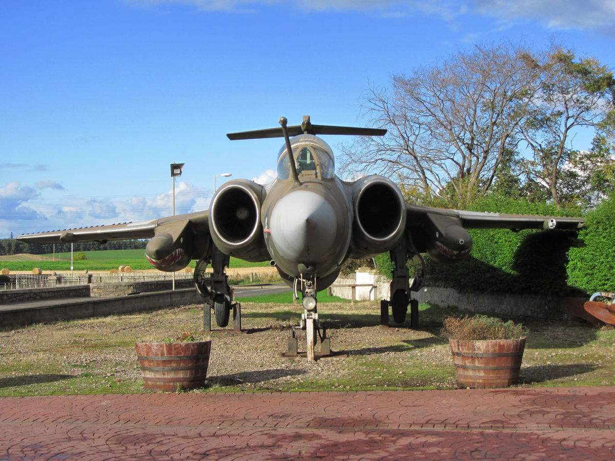 Old Aircraft Blackburn Buccaneer On Display At Lossiemouth Scotland Cold War Era Jet Aircraft Warplane