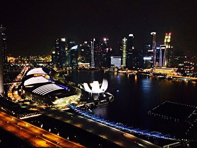 Singapore Wanderlust Wanderlust Wednesday IPhoneography Cityscapes City Night Lights Lights Skyscraper Singapore Flyer Singapore View Singapore Life Night Reflection View From Above Birds Eye View