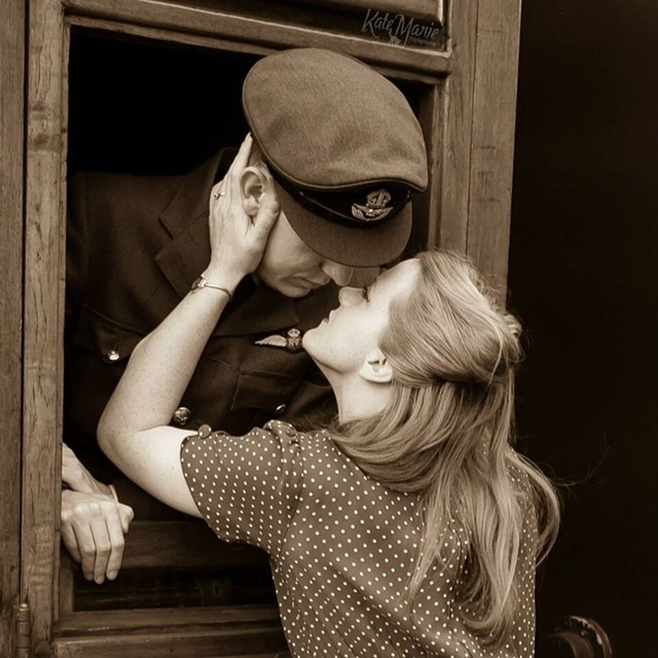 GCR Gcr1940 Army War American Military History 1940 Ww1 Ww2 K8marieuk Katemariephotographyuk Canon Canoneos700d Couple Kiss Lovers Goodbye Sweetheart Sepia Embrace Photo365 Photooftheday Photogeeks