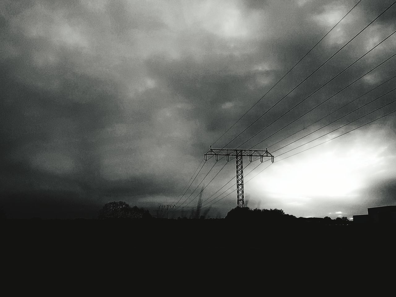 Electricity  Silhouette Sky No People Outdoors Technology Electricity Pylon Monochrome Photography Black And White Photography Monochrome Black And White On The Road